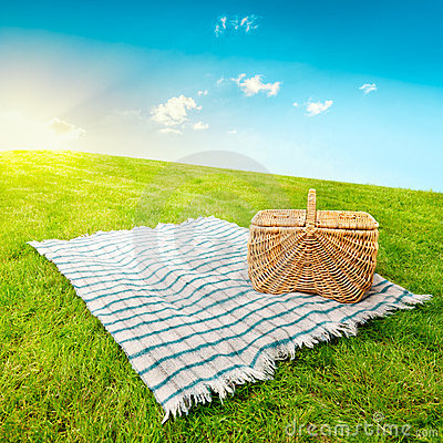 De deken & de mand van de picknick