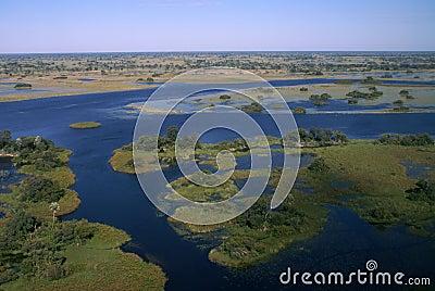 De Delta van Okavango door vliegtuig