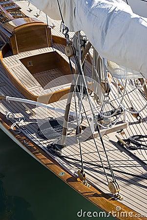 De details van de zeilboot