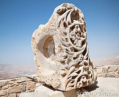 De details van het metselwerk in de vesting van Karak, Jordanië