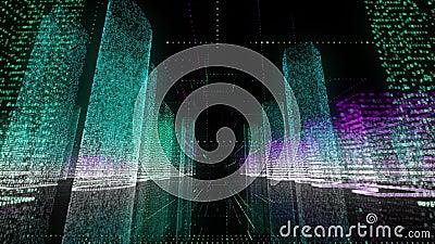 De digitale achtergrond van het technologie en bedrijfsconcept van helder neon wireframe van modern digitaal stadscentrum met stock videobeelden