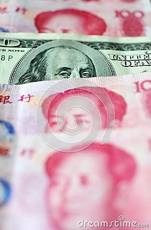De dollar van de V.S. en Chinese yuan