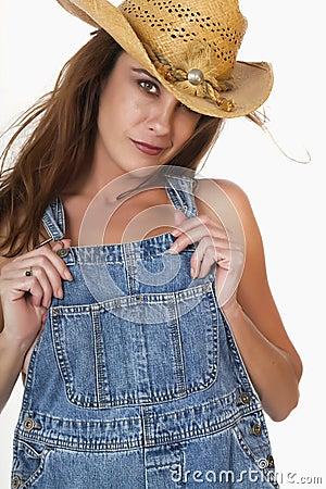 De Donkerbruine Vrouwelijke Landbouwer van Redneck