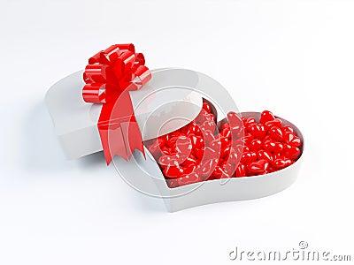 De doos van het hart met band