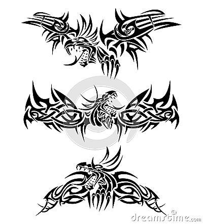 De draken van tatoegeringen