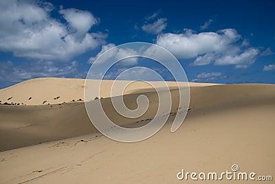 De duinen van het zand in Mozambique, Afrika