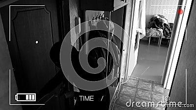 De echte toezichtcamera's vingen en registreerden de inbreker die in het huis breken, kwamen weg over een hond en looppas stock footage