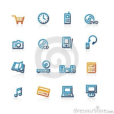 De elektronische handelpictogrammen van de contour