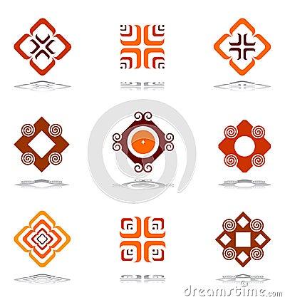 De elementen van het ontwerp in warme kleuren. Reeks 3.