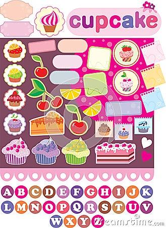 De elementen van het plakboek met cupcakes.