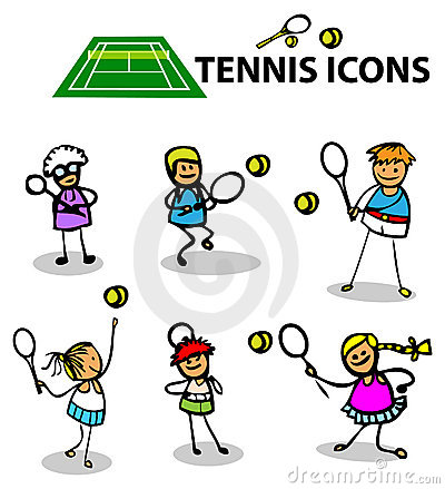 De emblemen van de de pictogrammensport van het tennis, vectorillustratie