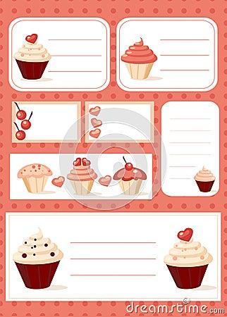De etiketten van Cupcake