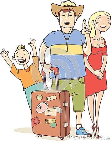De familie van de toerist