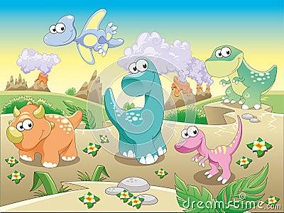 De Familie van dinosaurussen met achtergrond.