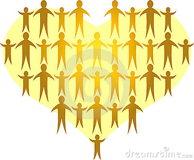 De families vormen een Gouden Heart/ai
