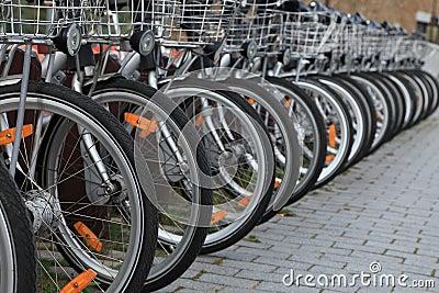 De fietsen van de stad