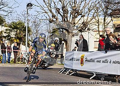 De fietser Sorensen Nicki- Parijs Nice 2013 Proloog Redactionele Afbeelding