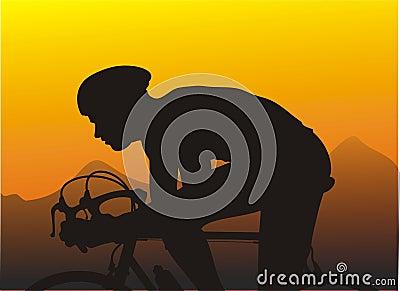 De fietsras van de zonsondergang