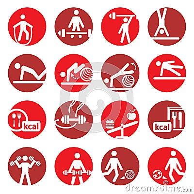 De fitness en de sportpictogrammen van de kleur