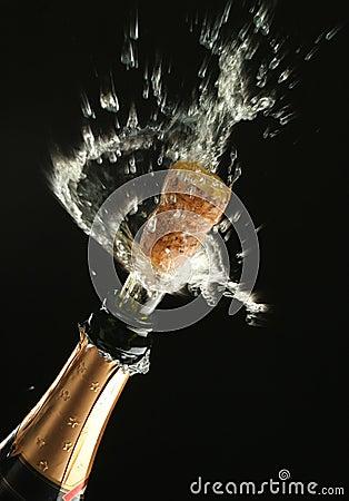 De fles van Champagne klaar voor viering