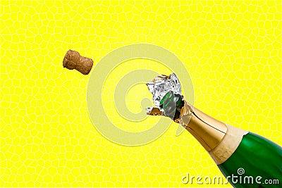 De fles van Champagne knalt