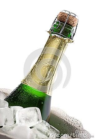 De fles van Champagne op ijs