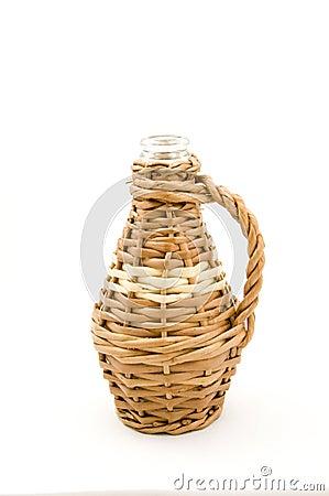 De Fles van het glas in Rieten Weefsel