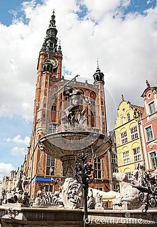 De Fontein van Neptunus in Gdansk, Polen