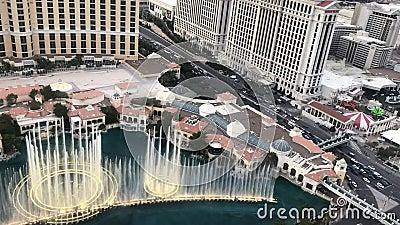 De fonteinen van de Bellagio, met het nummer van de Hallelujah Chorus stock video