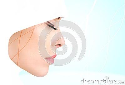 De foto van het profiel van sensuele schoonheids Moslimvrouw