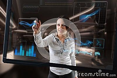 De futuristische technologie van het aanrakingsscherm