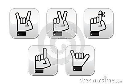 De gebaren de signalen en de tekens van de hand overwinning rots puntknopen royalty vrije - Moderne overwinning ...
