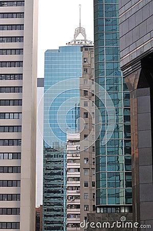 De gebouwen van de stad in hiërarchie