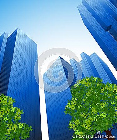 De gebouwen van het bureau en bomen
