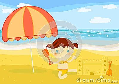 De gebouwenzandkasteel van het meisje op het strand