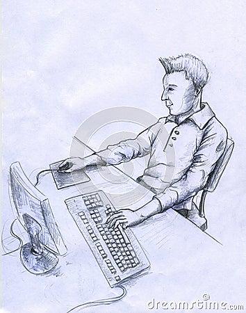 De gebruiker van de computer - schets