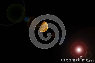 De gele Halve Gloed van de Maanlens