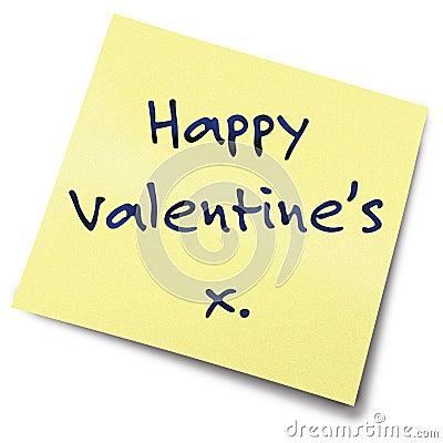 De gele nota van valentijnskaarten