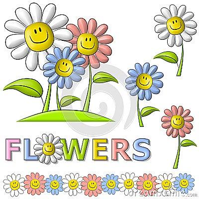 De Gelukkige Bloemen van het Gezicht van Smiley van de lente