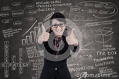 De gelukkige onderneemster toont duimen in klasse