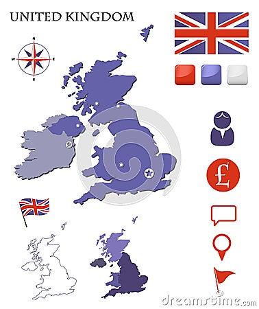 De geplaatste kaart en de pictogrammen van het Verenigd Koninkrijk
