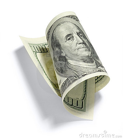 De gerolde Rekening van Honderd Dollar