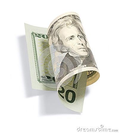 De gerolde Rekening van Twintig Dollar