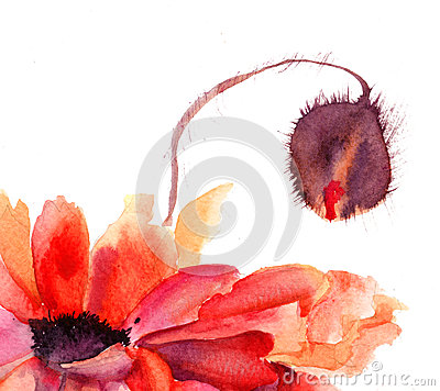 De gestileerde Papaver bloeit illustratie
