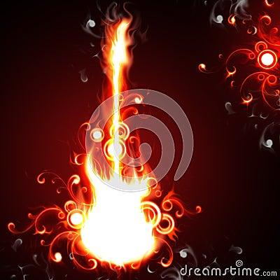 De gitaar van de brand