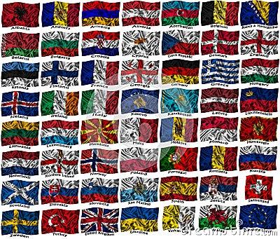 De golvende kleurrijke vlaggen van Europa