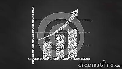 De grafiekdiagram van de krijtgrafiek, videoanimatie stock footage