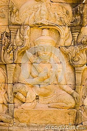 De gravure van Deva, Angkor Thom, Kambodja