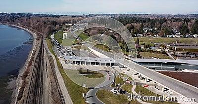 De grensovergang Canadese Amerikaan van satellietbeeldblaine stock videobeelden