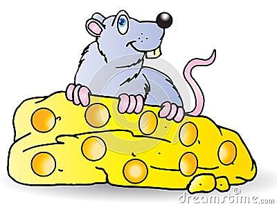 De grijze Muis eet grote kaas